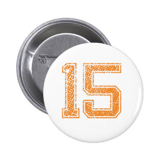Orange Sports Jerzee Number 15.png 6 Cm Round Badge