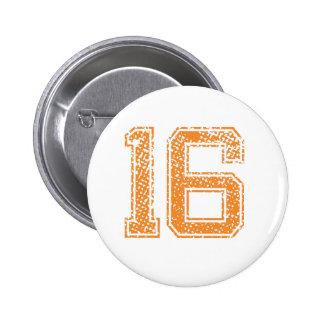 Orange Sports Jerzee Number 16.png 6 Cm Round Badge