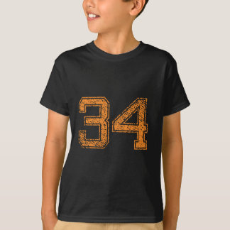 Orange Sports Jerzee Number 34.png T-Shirt