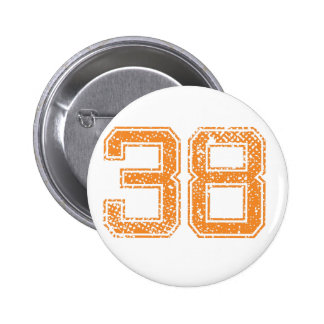 Orange Sports Jerzee Number 38.png 6 Cm Round Badge