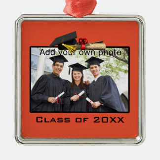 Orange Square Graduation Photo Ornament