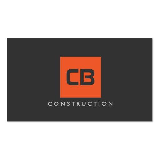 Orange Square Monogram Construction, Electrical Business Card Templates
