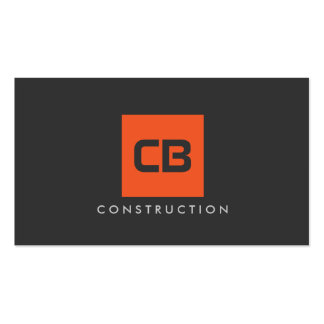 Orange Square Monogram Construction, Electrical Pack Of Standard Business Cards