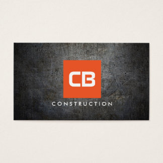 Orange Square Monogram Grunge Metal Construction Business Card