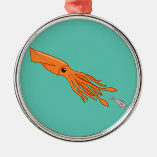 Orange Squid Chase Christmas Ornament