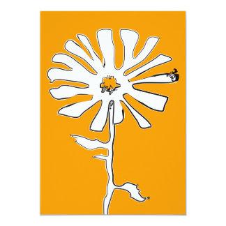 orange squiggle flower 13 cm x 18 cm invitation card