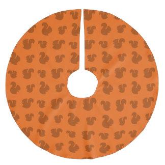 Orange squirrel pattern brushed polyester tree skirt