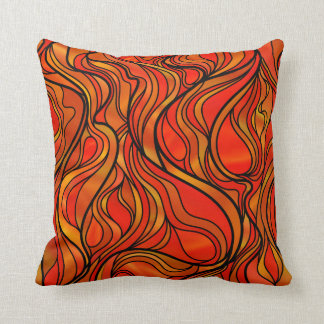 Orange Stained Glass Abstract Throw Pillow