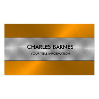 Orange Stainless Steel Business Card