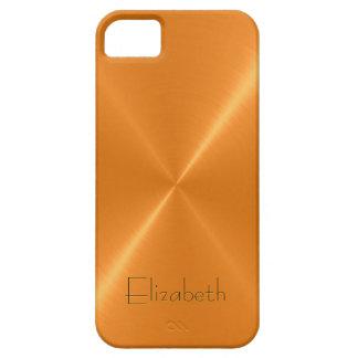 Orange Stainless Steel Metal Look iPhone 5 Case
