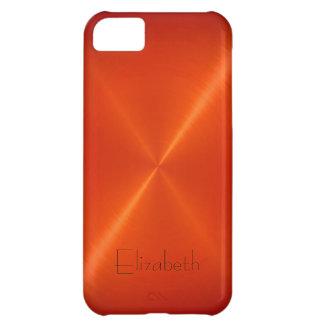 Orange Stainless Steel Metal Look iPhone 5C Case
