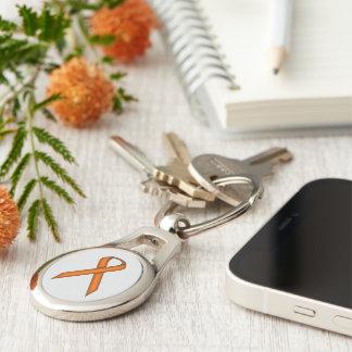 Orange Standard Ribbon Silver-Colored Oval Key Ring