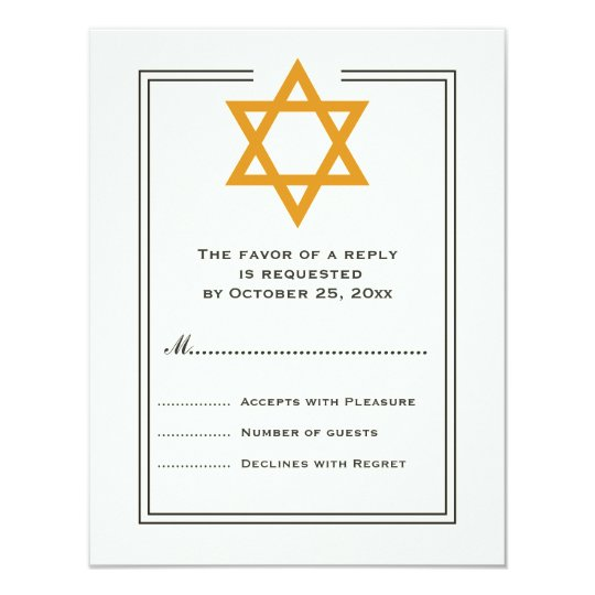 Orange Star of David Bar Mitzvah reply card