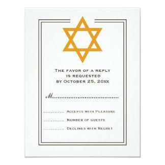 Orange Star of David Bar Mitzvah reply card 11 Cm X 14 Cm Invitation Card