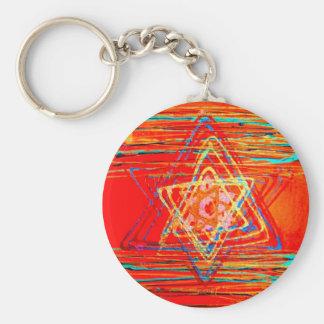 Orange Star of David Basic Round Button Key Ring