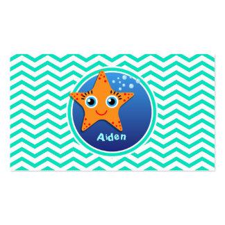 Orange Starfish Aqua Green Chevron Business Card Template