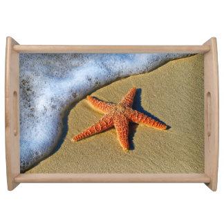 Orange Starfish On Beach Serving Tray