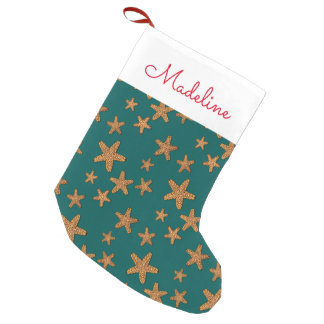 Orange Starfish Pattern | Add Your Name Small Christmas Stocking