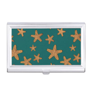 Orange Starfish Pattern Case For Business Cards