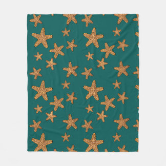 Orange Starfish Pattern Fleece Blanket
