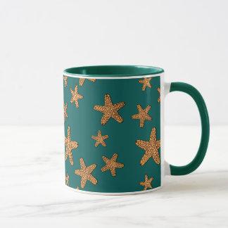 Orange Starfish Pattern Mug
