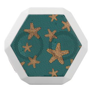 Orange Starfish Pattern White Bluetooth Speaker