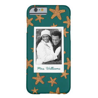 Orange Starfish Pattern | Your Photo & Name Barely There iPhone 6 Case