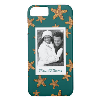 Orange Starfish Pattern | Your Photo & Name iPhone 8/7 Case