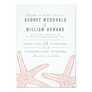 Orange Starfish Wedding 13 Cm X 18 Cm Invitation Card