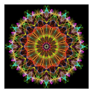 Orange Starflower  kaleidoscope Poster