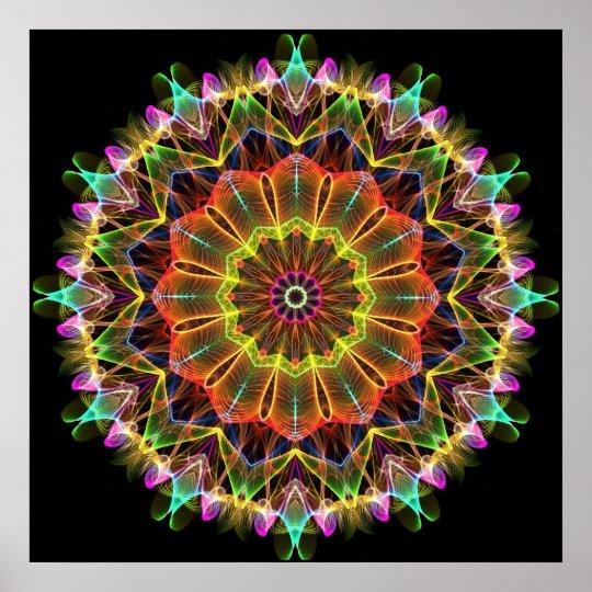 Orange Starflower  kaleidoscope Poster