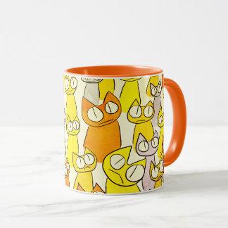 Orange Staring lot Cats Mug
