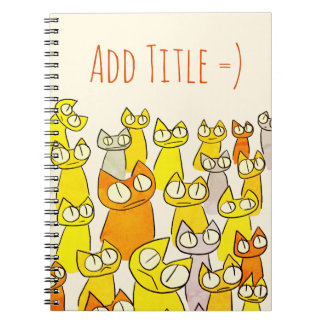 Orange Staring lot Cats Notebooks