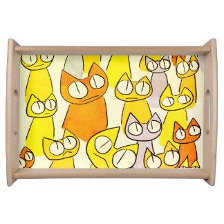 Orange Staring lot Cats Serving Tray