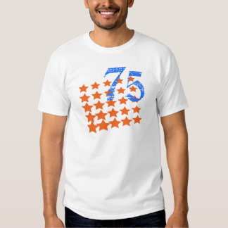 ORANGE STARS AND NUMBER 75 T SHIRTS
