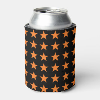 Orange Stars Black Can Cooler