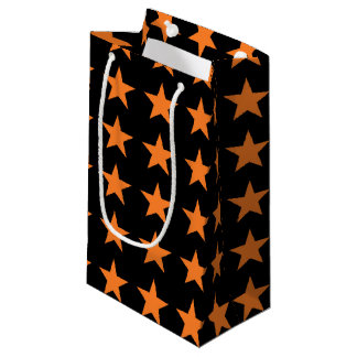 Orange Stars Black Small Gift Bag