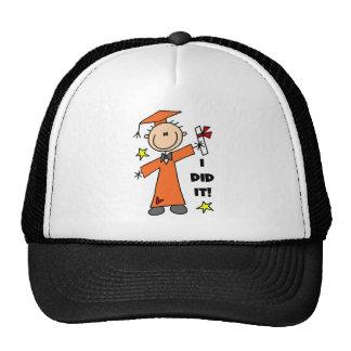 Orange Stick Figure Boy Graduate Hat