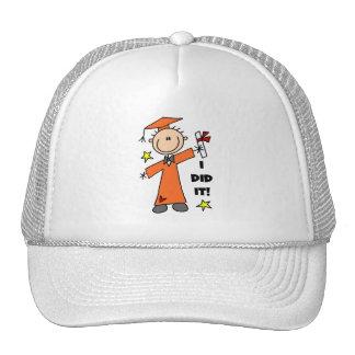 Orange Stick Figure Boy Graduate Hats