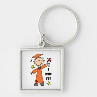 Orange Stick Figure Boy Graduate Key Chain