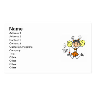 Orange Stick Figure Cheerleader t-shirts and Gifts Business Card Template