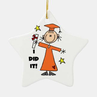 Orange Stick Figure Girl Graduate Christmas Ornament