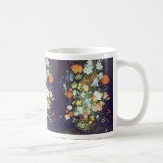 Orange Still Life of Flowers, Jan Brueghel flowers Basic White Mug