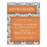"""Orange Stitched Damask Save the Date Announcements 4.25"""" X 5.5"""" Invitation Card"""