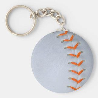 Orange Stitches Softball / Baseball Basic Round Button Key Ring