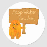 orange stop water pollution round sticker