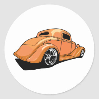Orange Street Rod Classic Round Sticker