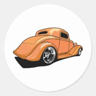 Orange Street Rod Round Sticker