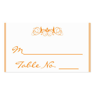 Orange Stripe Floral Accent Wedding Place Card Pack Of Standard Business Cards