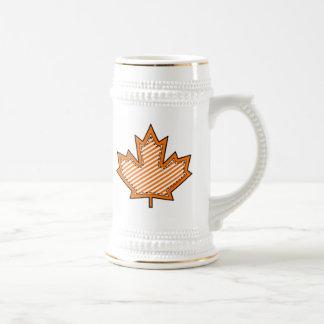 Orange Striped  Applique Stitched Maple Leaf Beer Steins